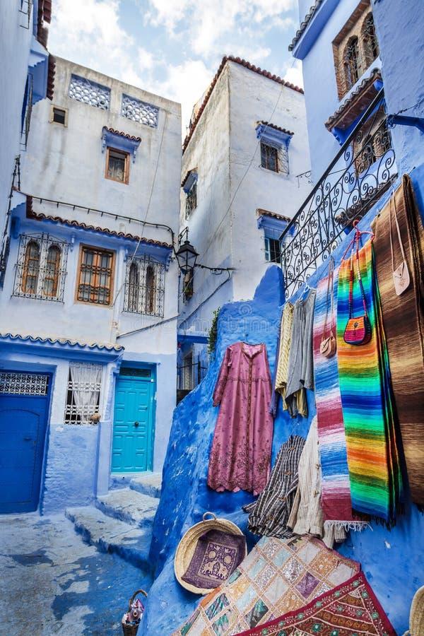 Piękny błękitny Medina Chefchaouen w Maroko obraz royalty free