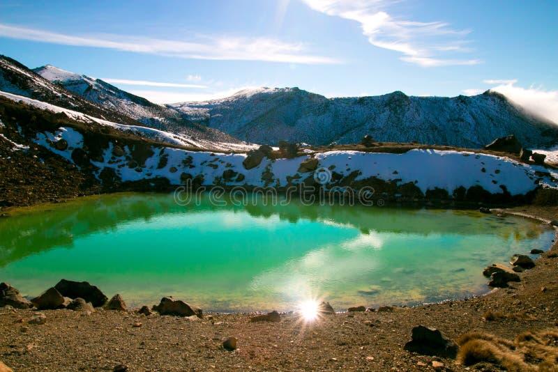 Piękny błękitny turkusowy jezioro znać jak Szmaragdowy jezioro w Tongariro parka narodowego Nowa Zelandia Północnej wyspie, wysok fotografia stock
