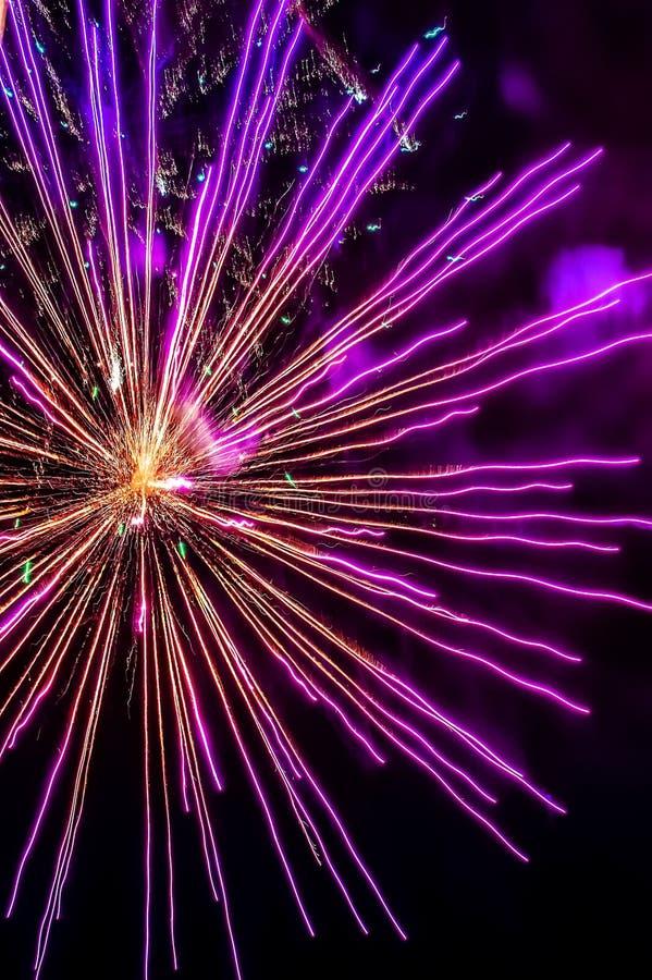 Piękny barwiący świąteczny salut Zakończenie fotografia royalty free