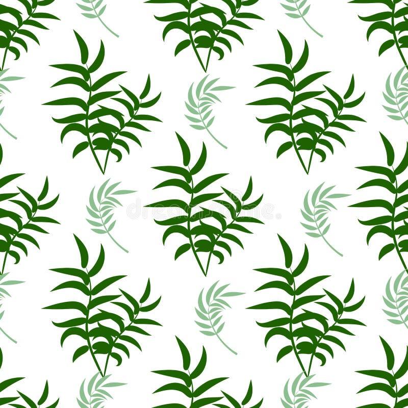 Piękny bezszwowy kwiecisty lato wzoru tło z tropikalnymi palmowymi liśćmi Doskonalić dla tapet, stron internetowych tła royalty ilustracja