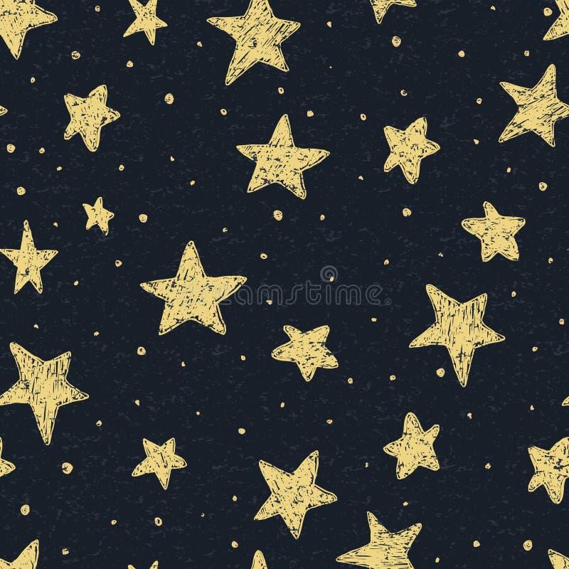 Piękny bezszwowy nocne niebo wzór z textured gwiazdami, ręka rysująca royalty ilustracja