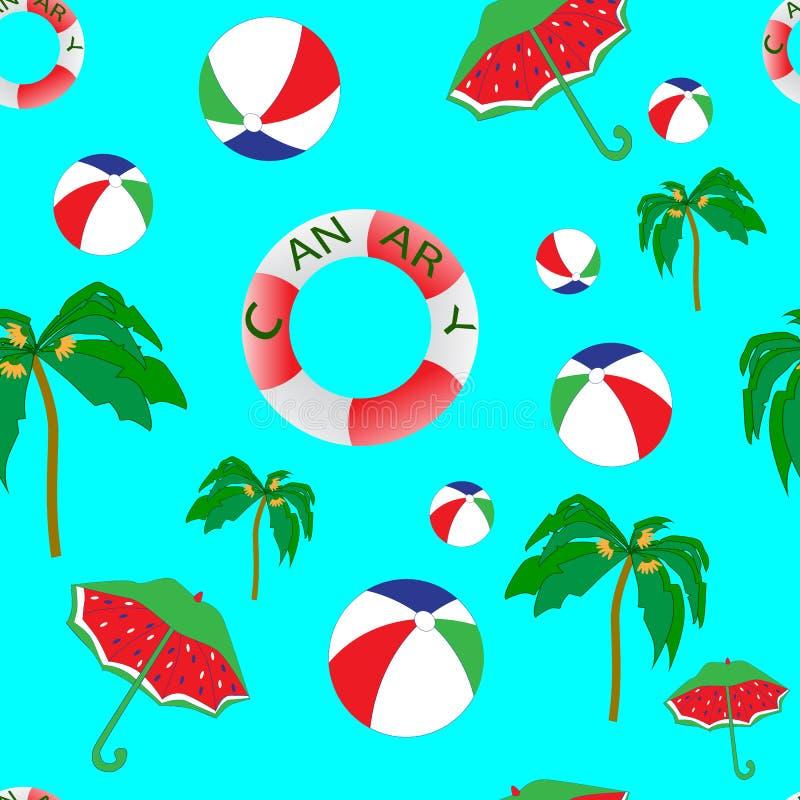 Piękny bezszwowy plaża wzór, niekończący się wzór z drzewkami palmowymi, piłki, parasole, plaża royalty ilustracja