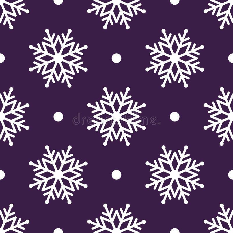 Piękny bezszwowy tło dla Wesoło bożych narodzeń lub nowego roku Białe śnieżynki na tle ilustracji