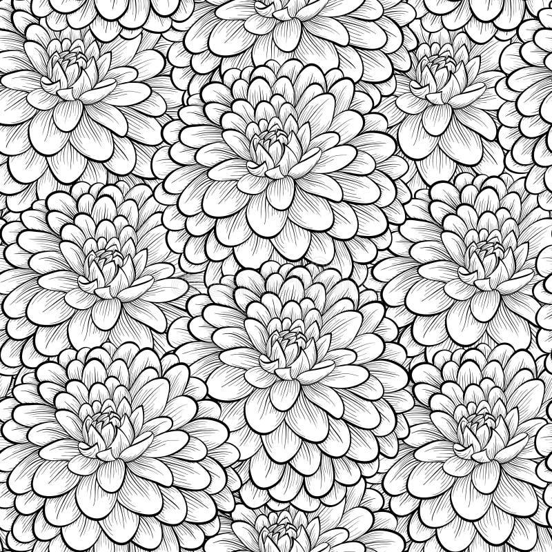 Piękny bezszwowy tło z monochromatycznymi czarny i biały kwiatami ilustracji