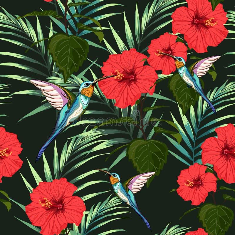 Piękny bezszwowy wektorowy kwiecisty lato wzoru tło z hummingbird, czerwonymi poślubników kwiatami i palma liśćmi, ilustracja wektor