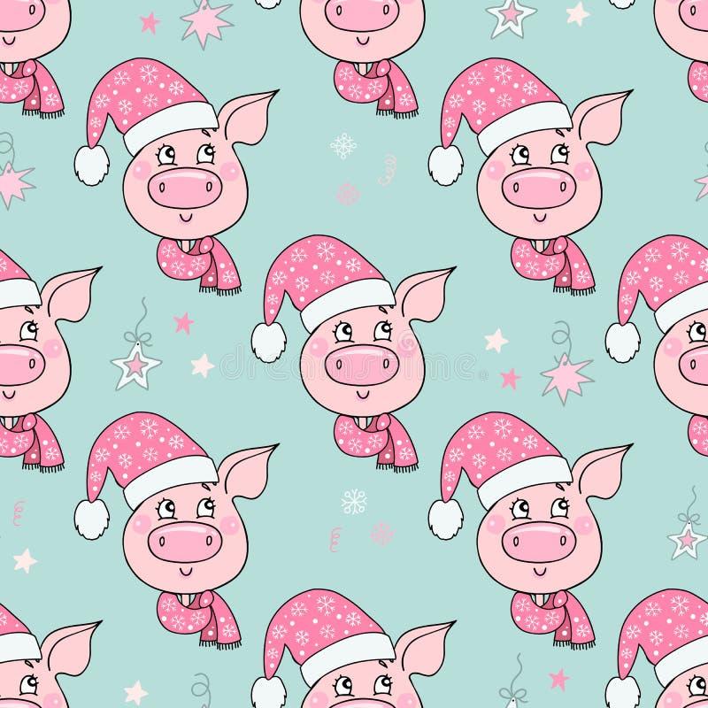 Piękny bezszwowy wzór śliczna świnia z kapeluszem ilustracja wektor