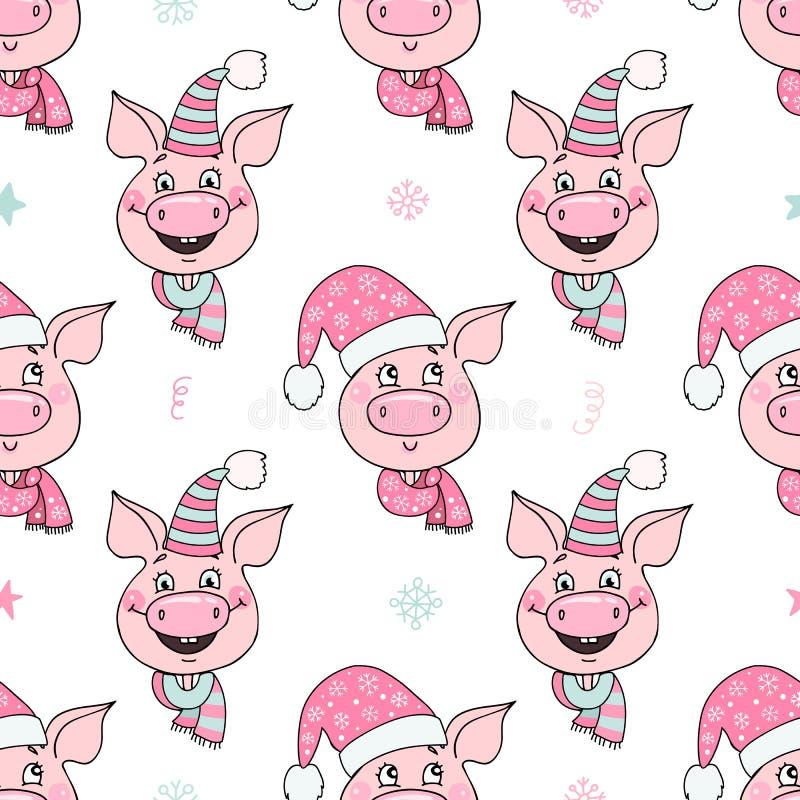 Piękny bezszwowy wzór śliczne świnie z kapeluszami ilustracji
