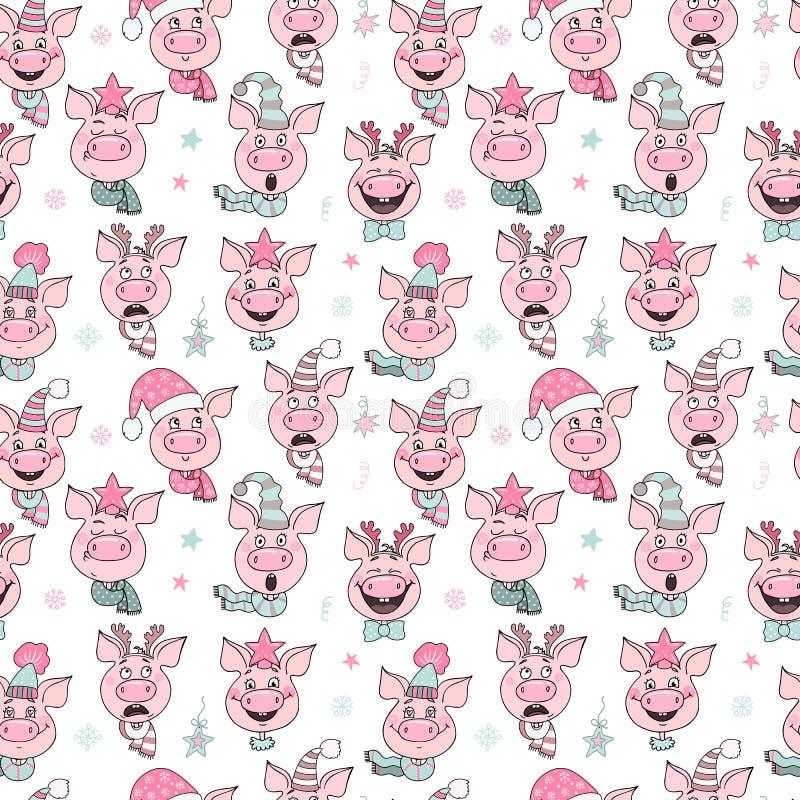 Piękny bezszwowy wzór śliczne świnie z kapeluszami ilustracja wektor