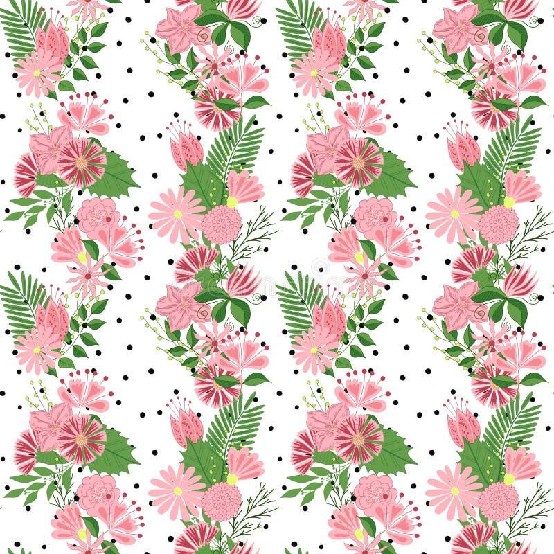 Piękny bezszwowy wzór w małym abstrakcjonistycznym kwiacie Mali kolorowi kwiaty Śliczni prości wiosna kwiaty royalty ilustracja