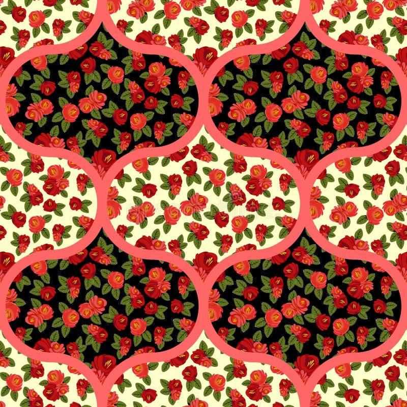 Piękny bezszwowy wzór z czerwonymi różami, arabski ornament, tło royalty ilustracja