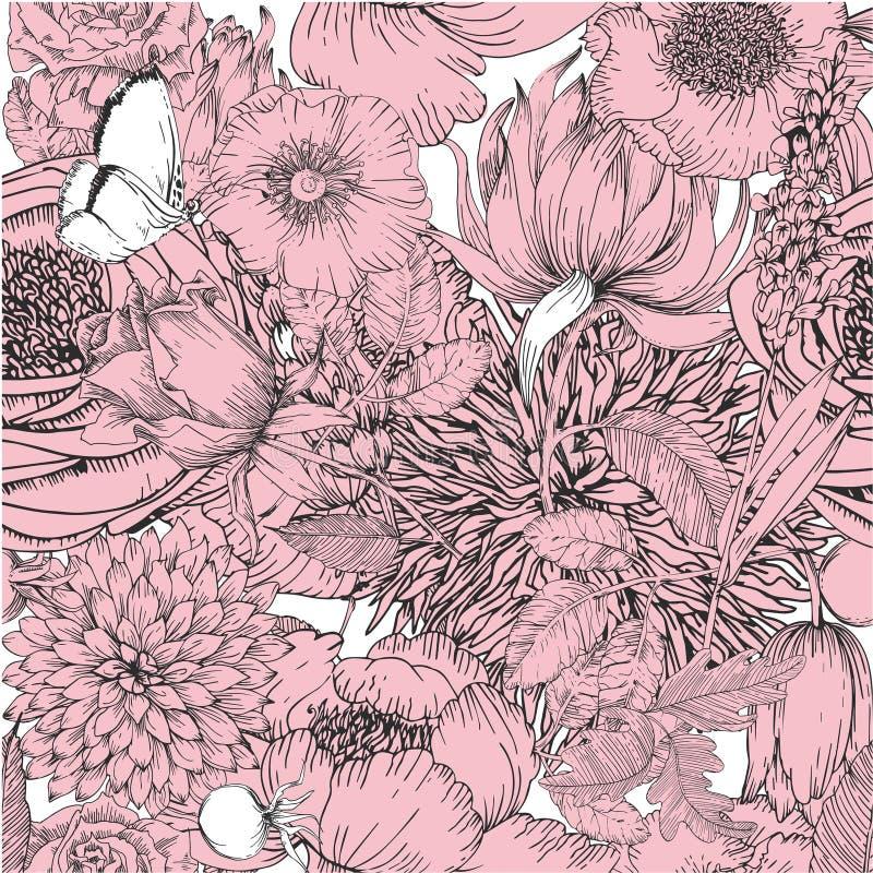 Piękny bezszwowy wzór z kwieciści elementy rocznika ogród royalty ilustracja