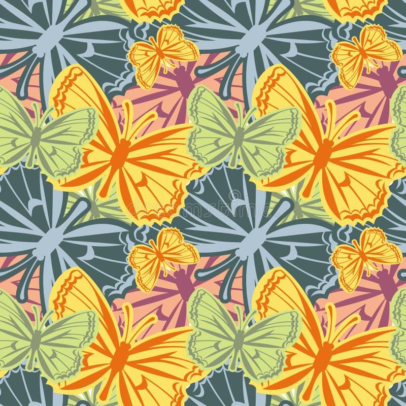 Piękny bezszwowy wzór z motylami ilustracja wektor
