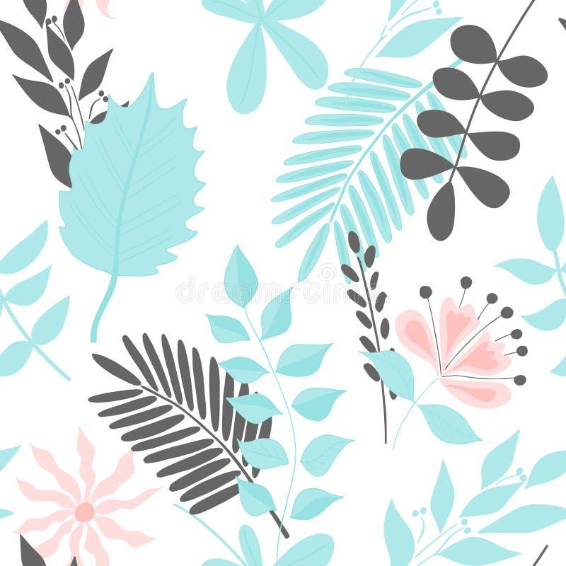 Piękny bezszwowy wzór z pociągany ręcznie tropikalnymi roślinami Nowożytny abstrakcjonistyczny projekt dla papieru, tapety, pokry ilustracji