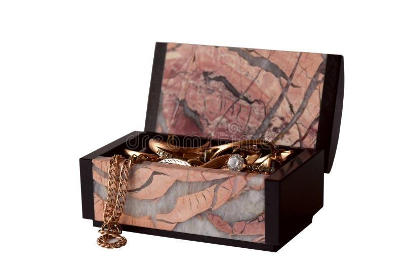 Piękny biżuterii pudełko odizolowywający na białym tle zdjęcia stock