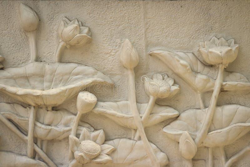 Piękny białego lotosu stiuk deseniujący na rubieżnej ścianie vinaigrette obrazy royalty free