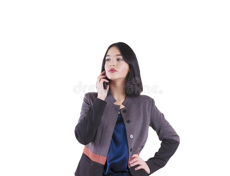 Piękny bizneswoman z telefonu portretem odizolowywającym zdjęcia stock