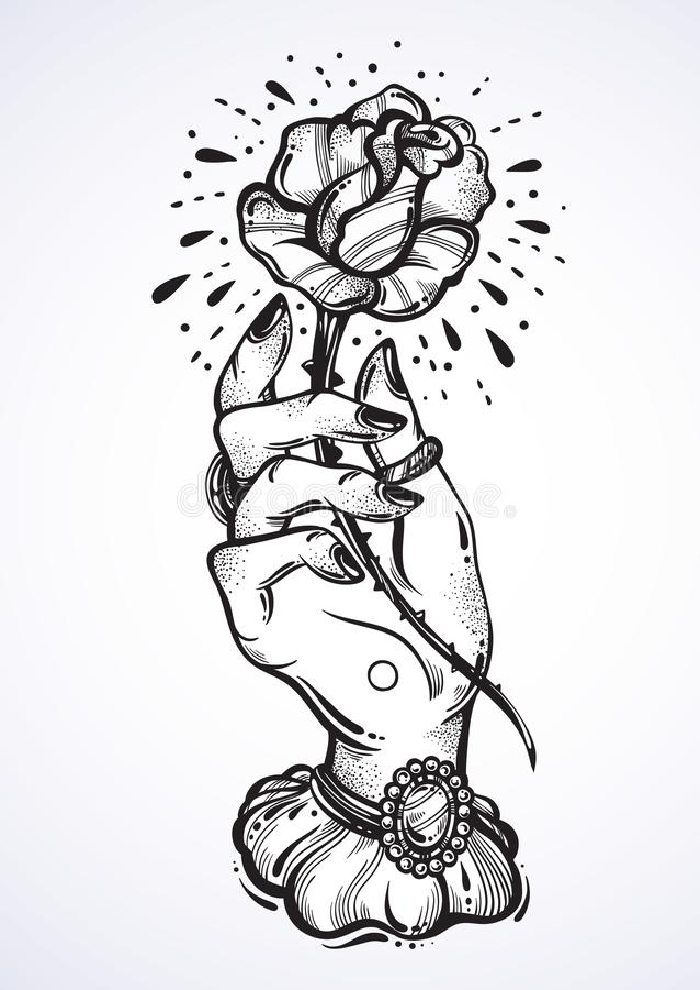 Piękny blackwork tatuażu projekt Rocznik kobiety ręki mienia róży kwiat Ciemny romans Wyszczególniająca wektorowa grafika odizolo royalty ilustracja
