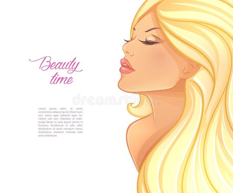 Piękny blond kobieta wizerunek ilustracja wektor