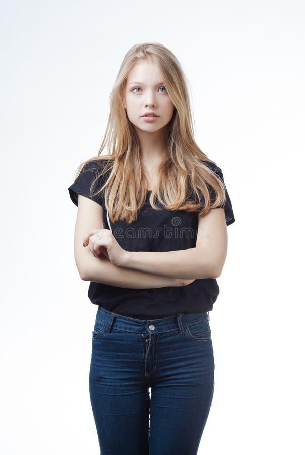Piękny blond nastoletni dziewczyna portret obrazy stock