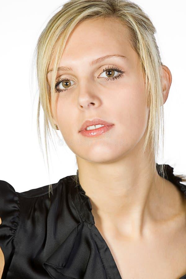 piękny blondynki kamery dziewczyny target839_0_ zdjęcia stock