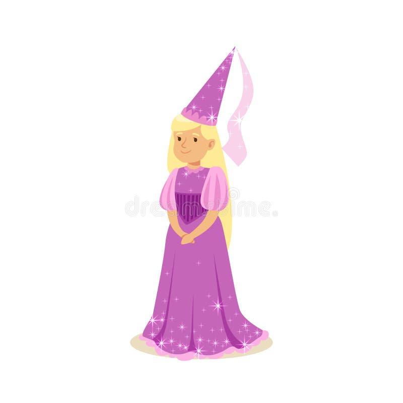 Piękny blondynki małej dziewczynki princess w purpurowej balowej sukni śpiczastym kapeluszu i, bajka kostium royalty ilustracja