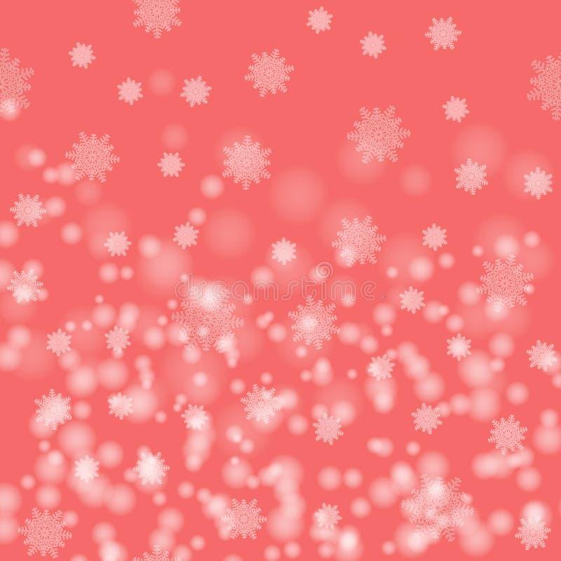 Piękny Bożenarodzeniowy wizerunek Biali śnieżni płatki na różowym tle abstrakta schematu royalty ilustracja