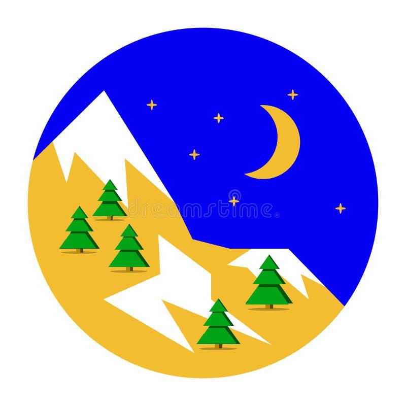 Piękny Bożenarodzeniowy zima krajobrazu tło Bożenarodzeniowi lasowi drewna z górami Nowego Roku Płaski projekt, wektor royalty ilustracja