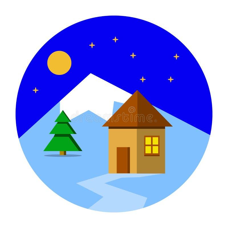 Piękny Bożenarodzeniowy zima krajobrazu tło z domem Bożenarodzeniowi lasowi drewna z górami Nowego Roku Płaski projekt ilustracja wektor