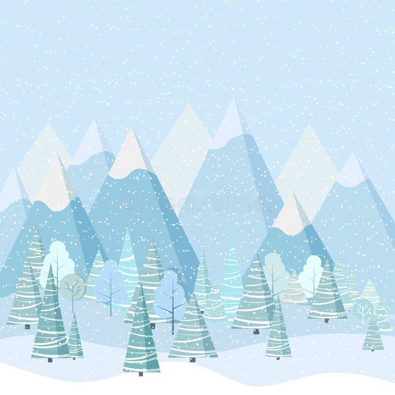 Piękny Bożenarodzeniowy zima krajobrazu tło z górami, śnieg, drzewa, świerczyny w kreskówki mieszkaniu projektuje ilustracji