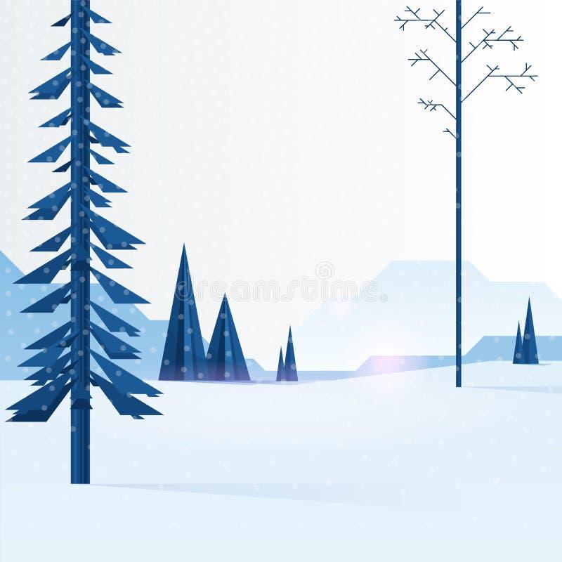 Piękny Bożenarodzeniowy zimy mieszkania krajobrazu tło Bożenarodzeniowi lasowi drewna z górami Nowy Rok zimy wektor ilustracja wektor