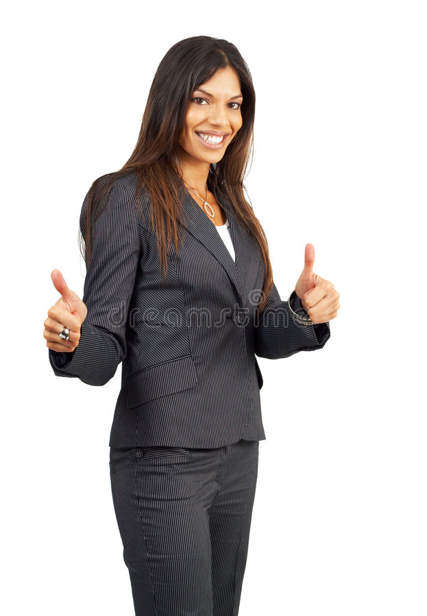 piękny brunetka bizneswoman daje kciuki zdjęcie royalty free