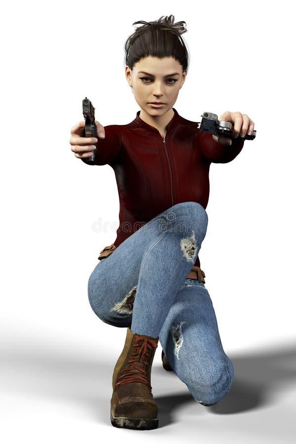 Piękny brunetki kobiety zabójca trzyma dwa pistoletu odizolowywający ilustracja wektor