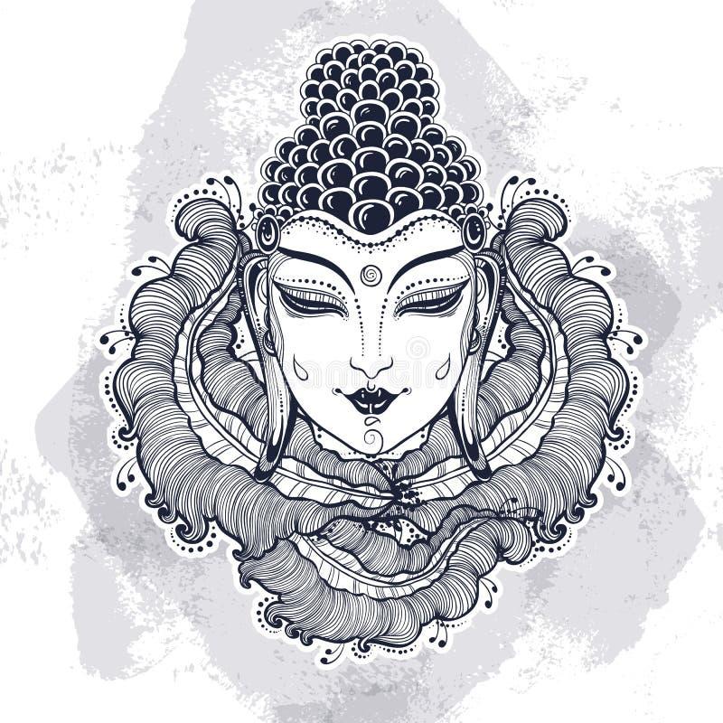Piękny Buddha stawia czoło nad wyszczególniającymi dekoracyjnymi kwiecistymi elementami Grawerująca wektorowa ilustracja na akwar royalty ilustracja