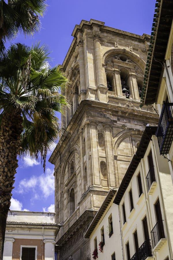 Piękny budynek i drzewka palmowe przeciw niebieskiemu niebu w mieście Granada, Hiszpania obraz stock
