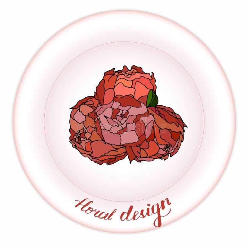Piękny bukiet peonie na róża talerzu ilustracji