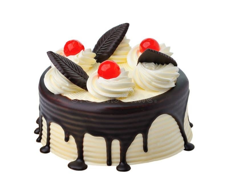 Piękny cały tort odizolowywający na bielu fotografia royalty free
