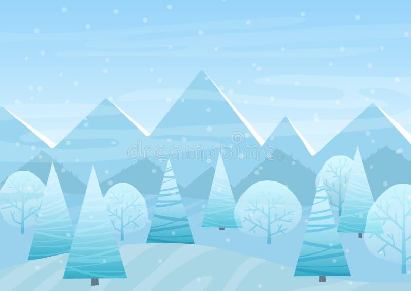 Piękny Chrismas zimy mieszkania krajobrazu tło Bożenarodzeniowi lasowi drewna z górami Nowy Rok zimy wektor royalty ilustracja