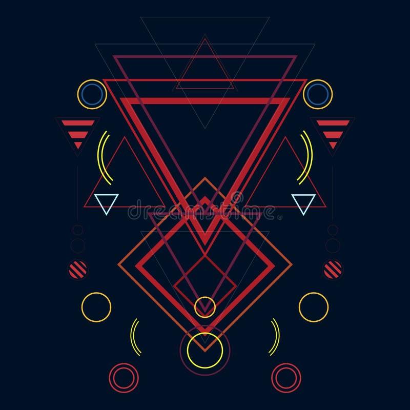 Piękny colour ilustracji tło na podstawie świętej geometrii royalty ilustracja