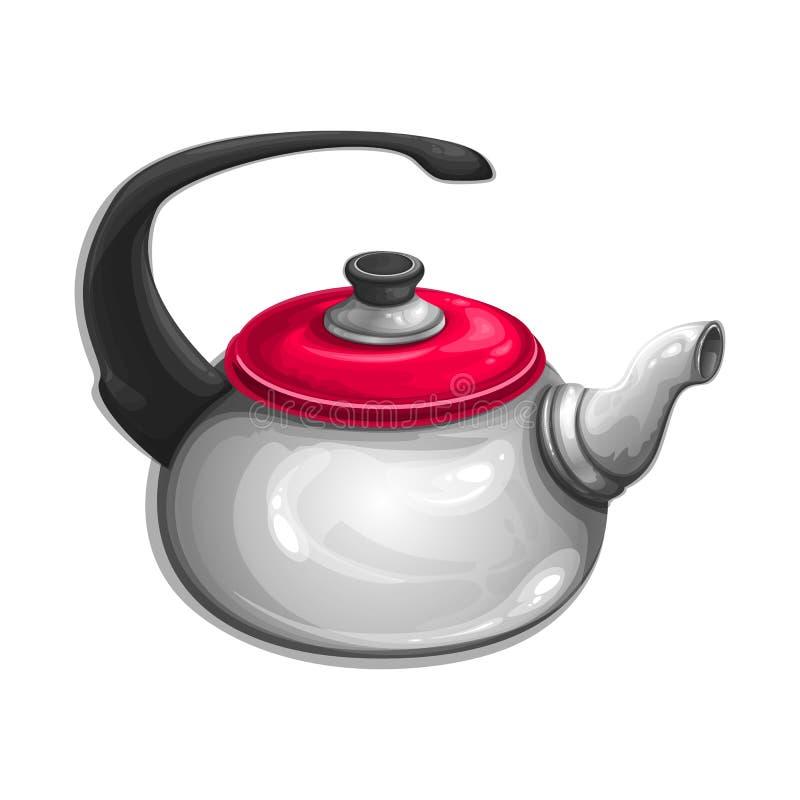 Piękny czajnik z czerwoną pokrywą royalty ilustracja