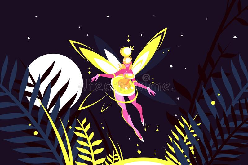 Piękny czarodziejski latanie w noc lesie ilustracji