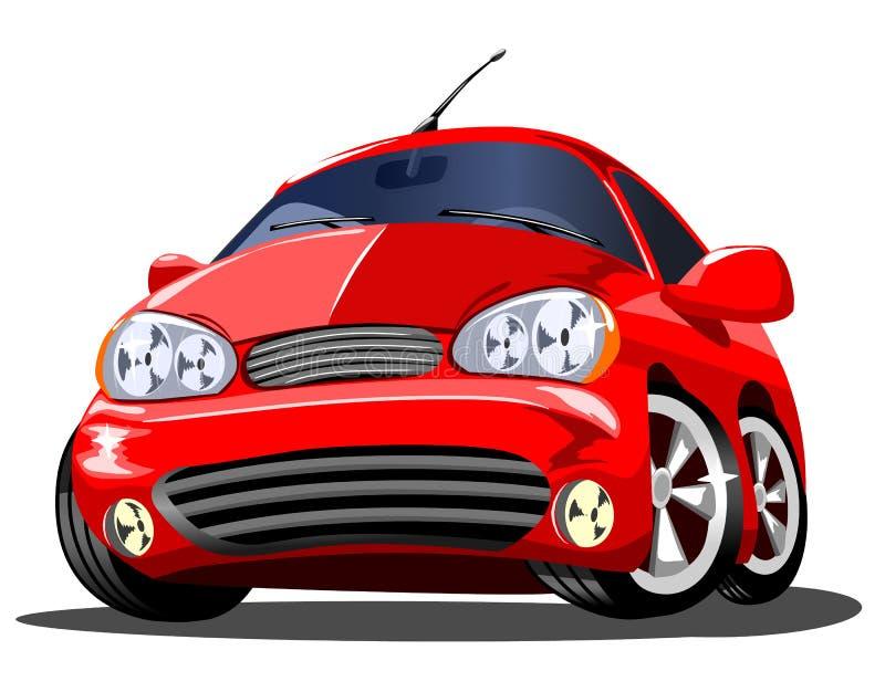 Piękny czerwony kreskówka samochód na białym tle, wektor royalty ilustracja