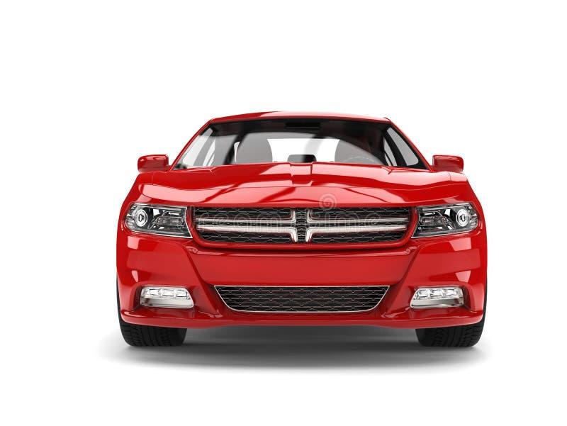 Piękny czerwony nowożytny miasto sportów samochód - frontowy widok ilustracja wektor