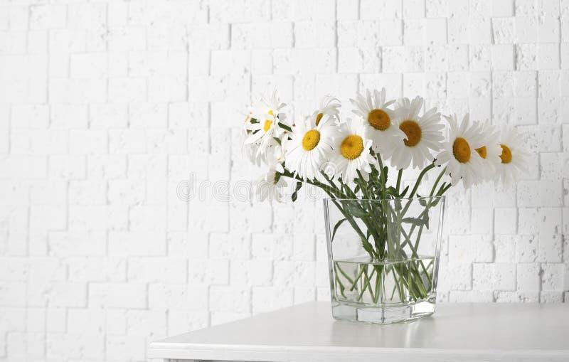 Piękny czuły chamomile kwitnie w wazie na drewnianej komódce blisko biel textured ściany zdjęcia stock