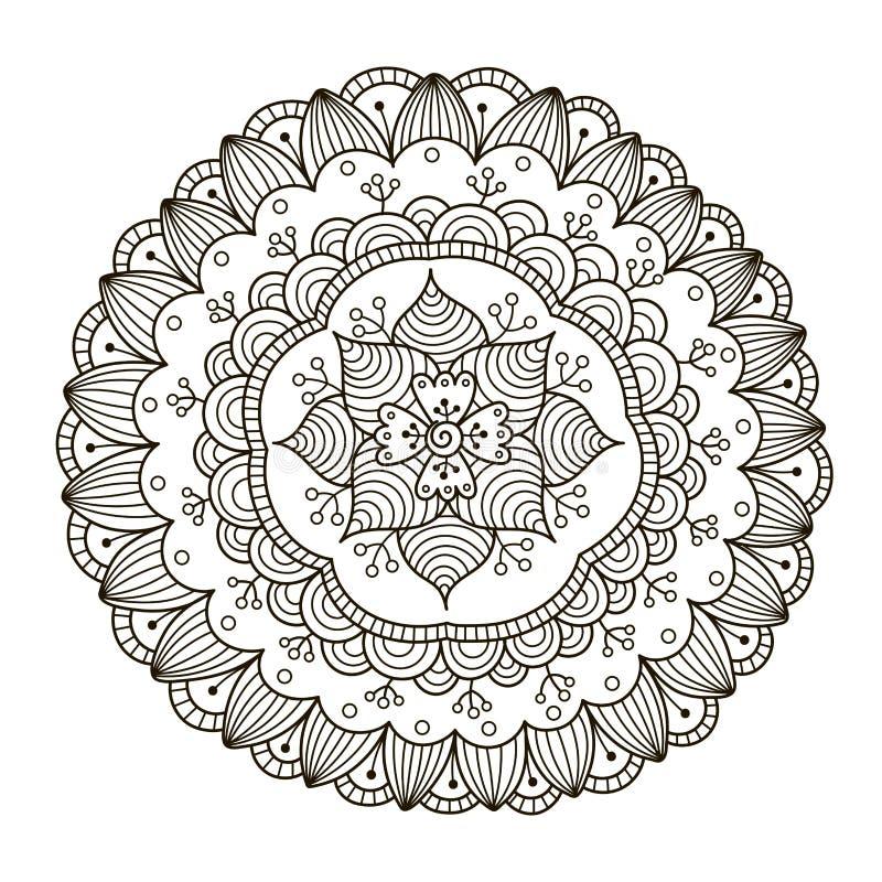 Piękny Deco Kwiecisty mandala Wektorowy round ornamentu wzór ilustracja wektor