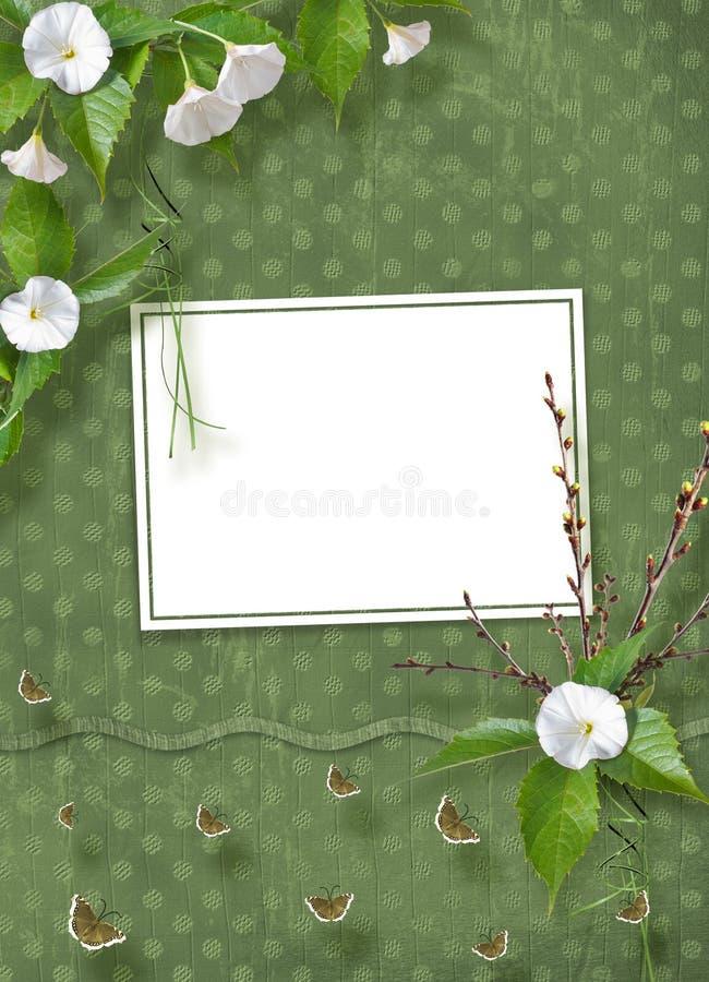 Piękny delikatny bukiet powój i kwiecenie rozgałęzia się z faborkami i ono kłania się w stylu scrapbook ilustracji