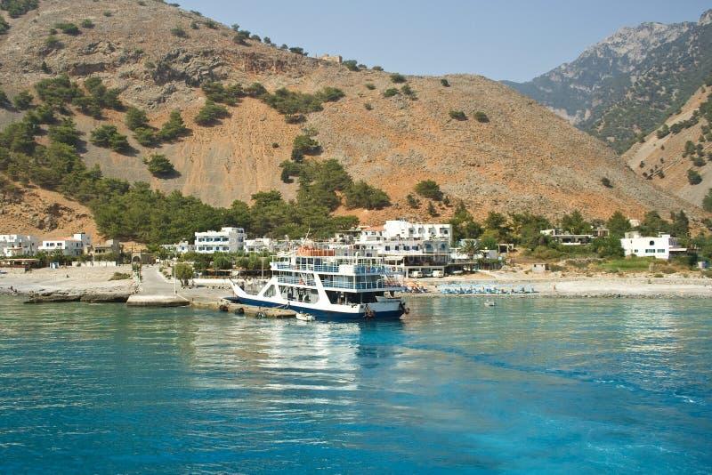 Piękny denny widok z statkiem zdjęcie royalty free