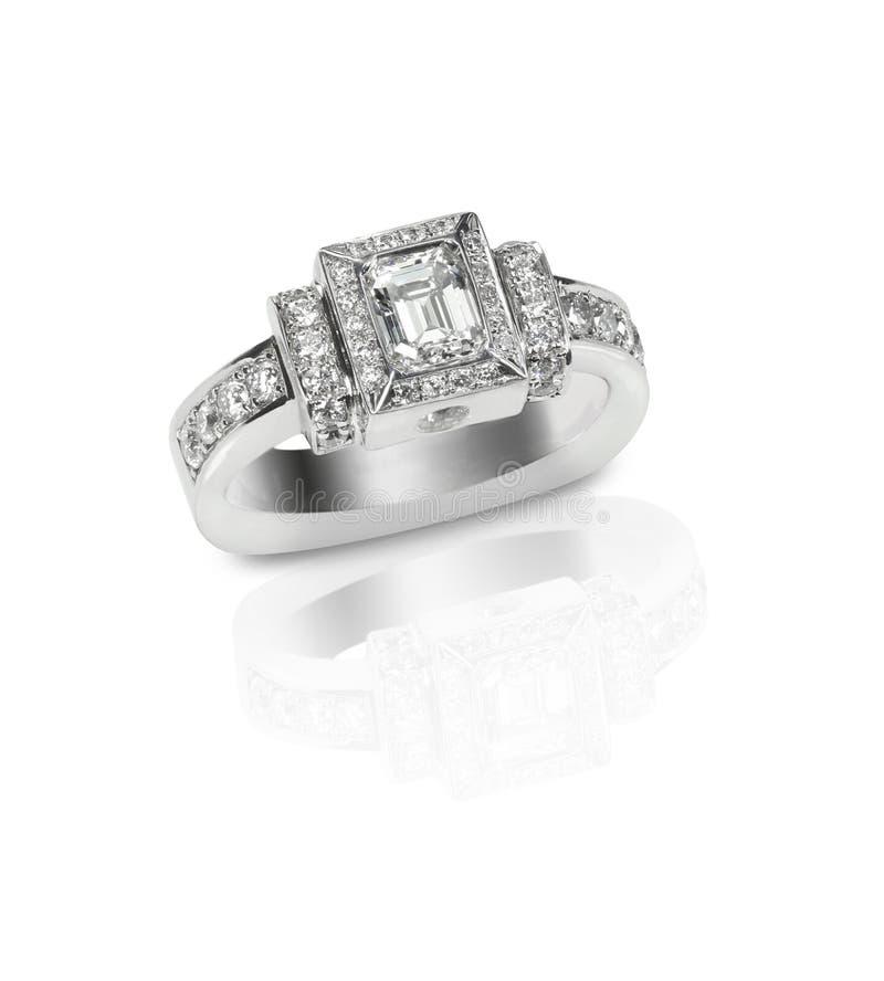 Piękny diamentowego ślubu engagment zespołu pierścionku pasjans z mul obraz stock