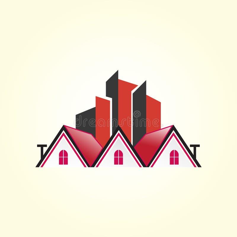 Piękny domowy logo Budynek, nieruchomość, płaski logo dla twój firmy ilustracja wektor