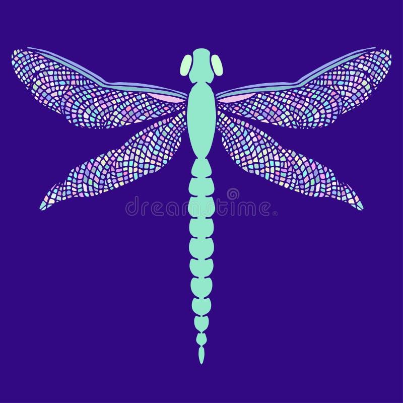 Piękny dragonfly z kolorowymi skrzydłami Odizolowywający na błękicie Ręka ilustracji