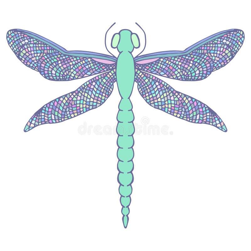 Piękny dragonfly z kolorowymi skrzydłami Odizolowywający na bielu Ręka royalty ilustracja